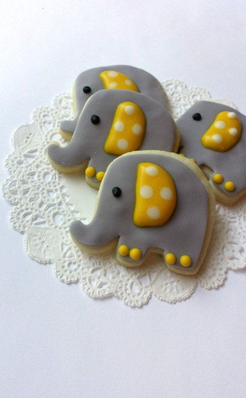 Mini Elephant Cookies~                   Yellow and Grey by pfconfections, $16.00
