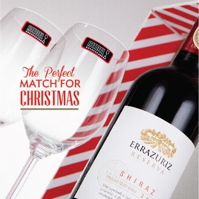THE PERFECT MATCH FOR CHRISTMAS IS IN VINOTECA    -Errazuriz Estate Reserva Shiraz   -2 copas Riedel Zinfandel / Riesling