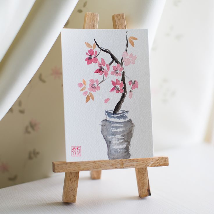 postcard by Yulia Lisitsa, cherry blossom, sakura, vase, sumi-e, ink painting, chinese ink painting, postcard, etegami, handmade postcard, hand drawn postcard, watercolor, gansai color