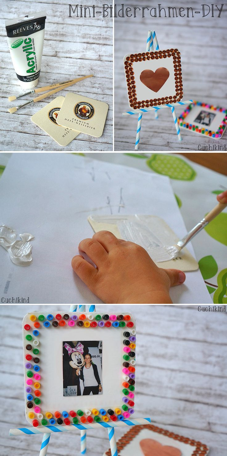 Mini-Bilderrahmen selbst machen, Basteln mit Kindern, Bierdeckel und Hamabeads