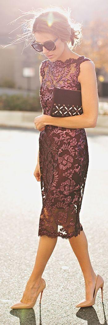 #spring #fashion  Romantic Lace Midi Dress