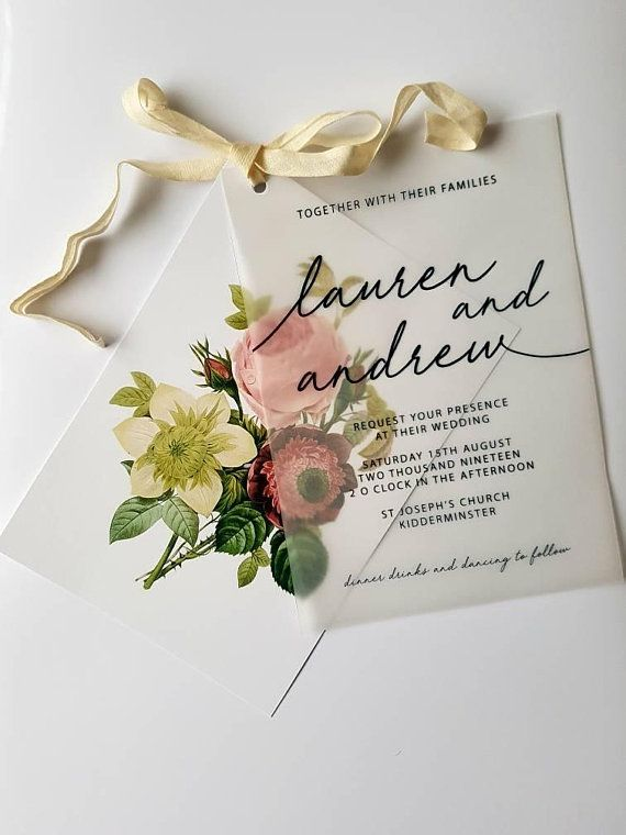 rustic vintage wedding invitation formal rose flower ribbon velum