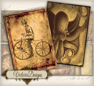 Steampunk ATC vintage images digital background printable collage sheet 160  by VectoriaDesigns for $2.80