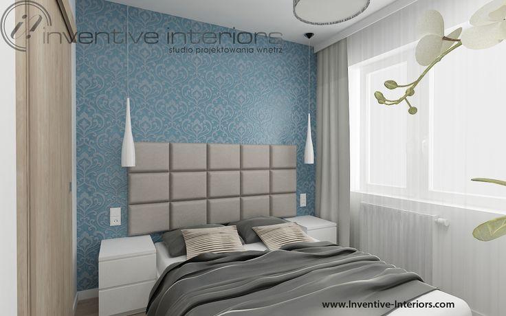 Projekt sypialni Inventive Interiors - biało szara sypialnia z niebieskim akcentem