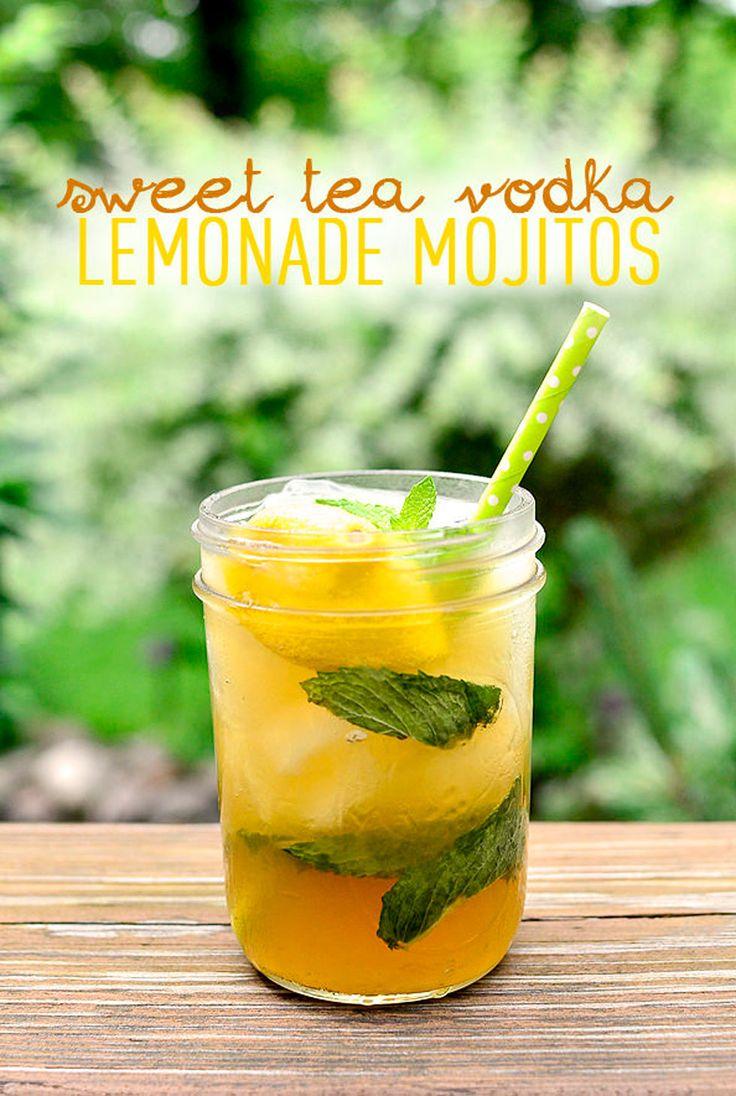 These sweet tea vodka lemonade mojitos calls for sweet tea-flavored vodka, lemonade, fresh mint, and lemons.