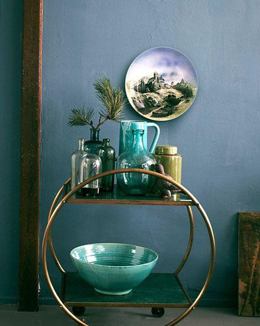 circular brass bar cat with green vases and bowl / sfgirlbybay