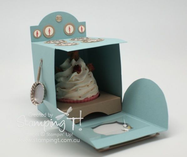 Stampin' Up! Stamping T! - Cupcake Oven Open  Adorable! Tutorial/template is $2