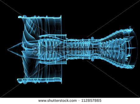 Jet engine turbine (3D xray blue transparent) - stock photo
