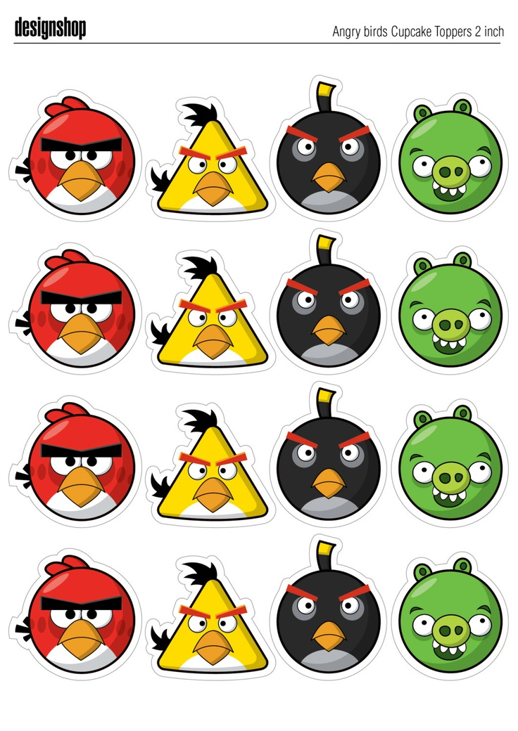 ANGRY BIRDS Cupcake Toppers by DesignShop
