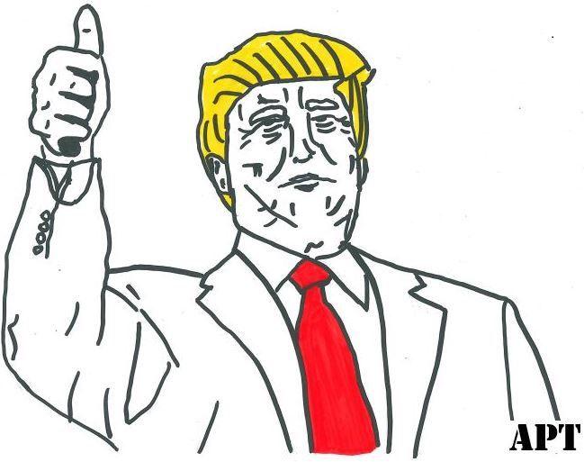 Donald Trump caricature showing thumb up #donaldtrump #POTUS #awakposttruth