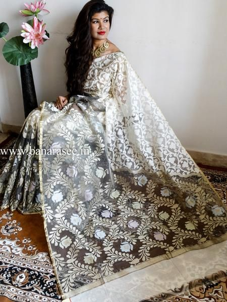 Banarasee/Banarasee Pure Net & Linen Handloom Saree in Half & Half Design-Off White & Grey
