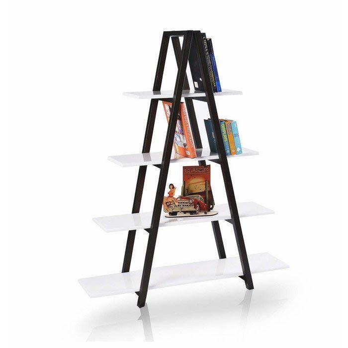 Evmanya Haus Otantik 4 Raflı Katlanır Metal Kitaplık - Siyah / Beyaz - Altıncı Cadde