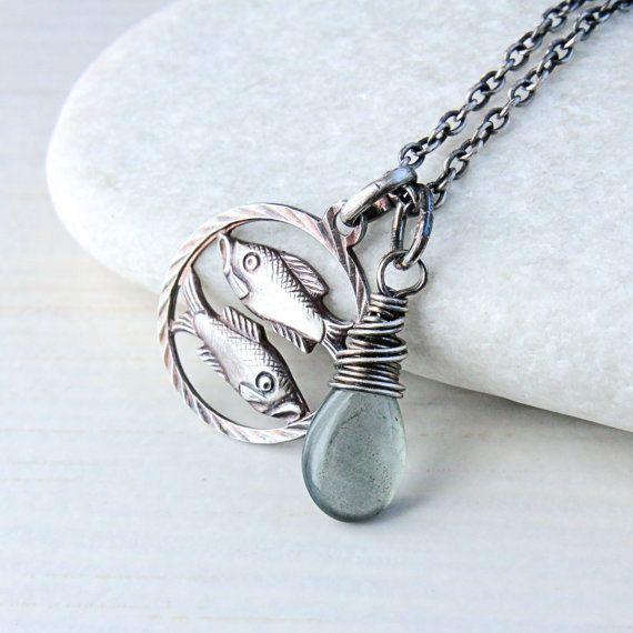 Pisces Necklace Moss Aquamarine Gemstone Jewelry Zodiac by Hildes