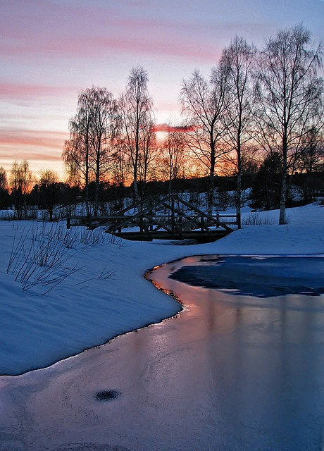 sunset on ice. Out for an evening walk in Skellefteå (Sweden)