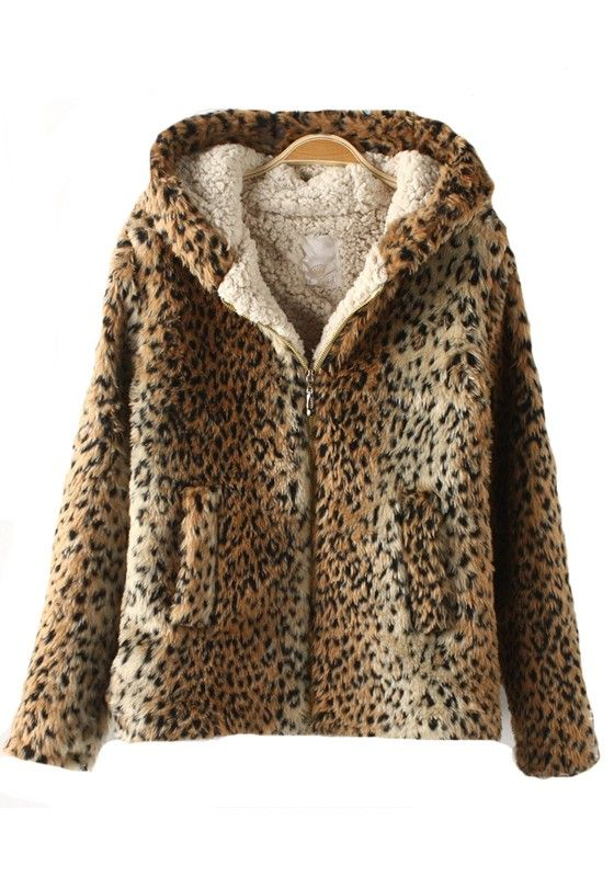 Brown Leopard V-neck Long Sleeve Fur Wool Coat