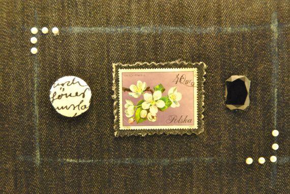 Textile blue jeans zip shoulder clutch purse stamp di comivishop