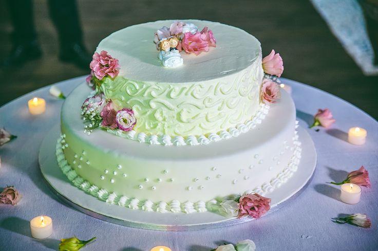 Summer, italian fresh wedding cake.Lemon and strawberries cream, simple cream frosting.