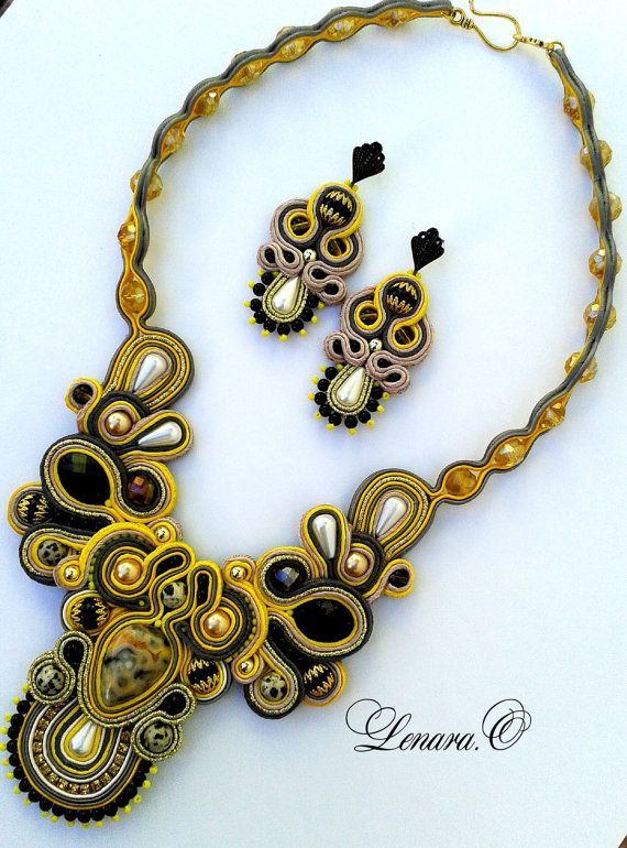 Soutache with natural beads Jasper Dalmatian, agate. Yellow, black, gold, grey, white color.  Soutache Necklace and Earrings.