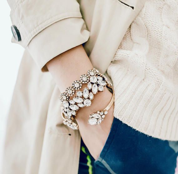 Crystal Cluster Bracelet Set Luxe Crystal Bracelet Statement
