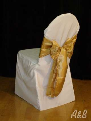 Gold Taffeta Chair Sashes - tie vertically down the center of the Bellini Chair and secure with a Princess Napkin ring (picture not available)