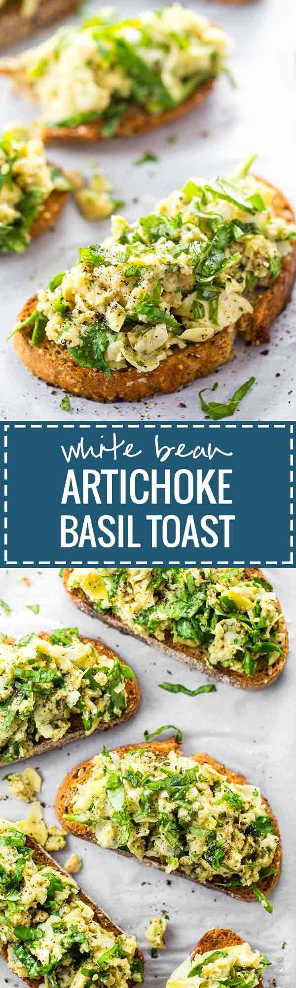 10 Minute White Bean Artichoke and Basil Toasts - THE BEST quick and easy recipe for basil lovers!