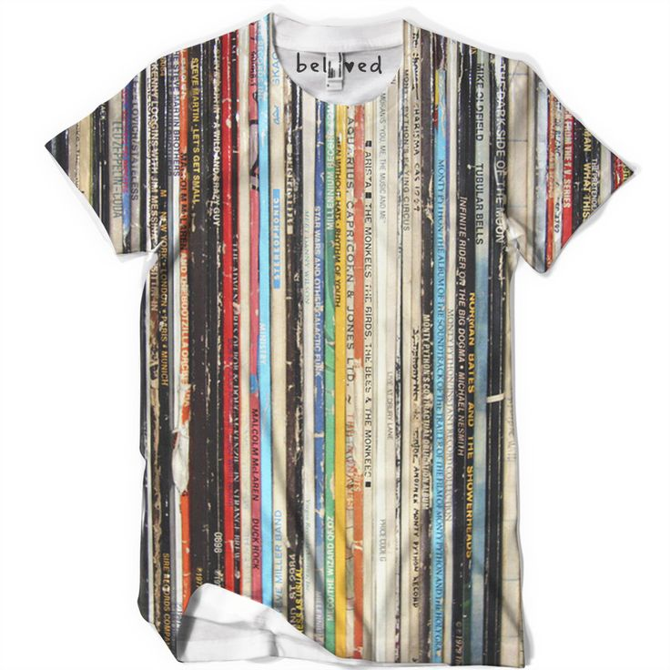"belovedwear® presents the #Records Tee by Mitch Chadban. This ""all over"" print T-Shirt is made using a special sublimation technique to provide a vivid graphic image throughout the shirt. • 100% Polye"