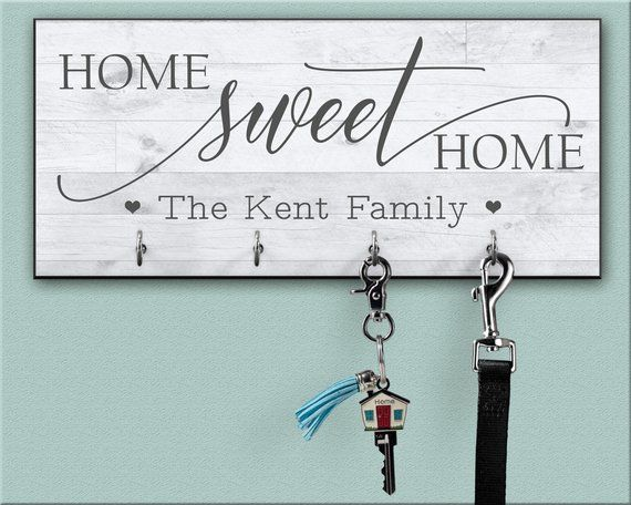 Home Sweet Home Personalized Key Ring Holder For Wall Key Etsy Personalized Key Holder Key Hanger For Wall Key Hanger