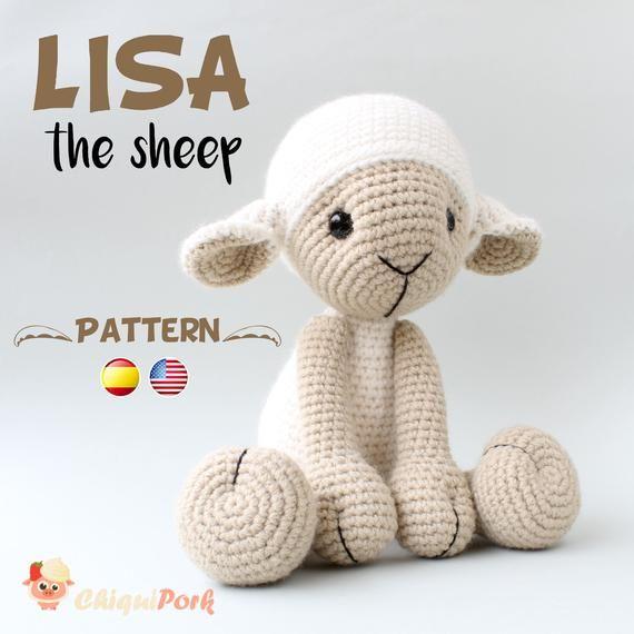 Crochet Sheep PADRÃO - Amigurumi pdf tutorial - LISA o carneiro - Crochet Lamb p ...