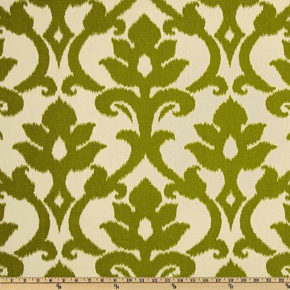 Azzuro Green and Ivory Ikat Curtain Panel / Custom Designer Drapery