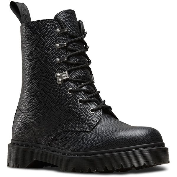 Dr. Martens Leather Para Boots (4,950 DOP) ❤ liked on Polyvore featuring shoes, boots, black, goth boots, army boots, military boots, black gothic boots and slip resistant boots