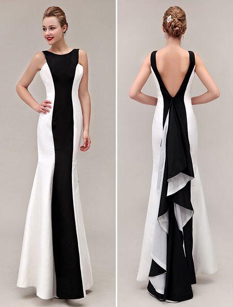 Color Block Prom Dress V-Back Mermaid Ruffles Taffeta Dress