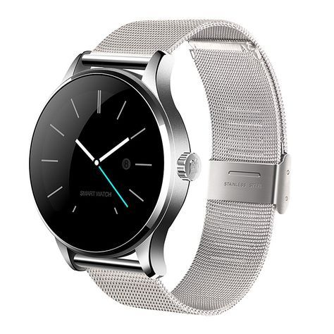 K88H Heart Rate Monitor Smartwatch Bluetooth Watch Siri Function Gesture Control Stainless Steel Band Silver