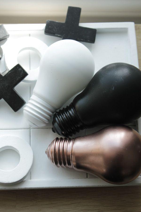 svart, vitt och koppar i inredningen, diy glödlampor, inredninge i svart, vitt och koppar
