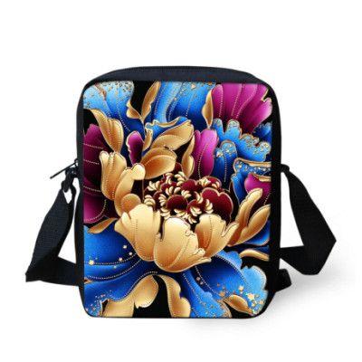 FORUDESIGNS Flower printing women's messenger bags casual vintage ladies small crossbody bag youth sling bag