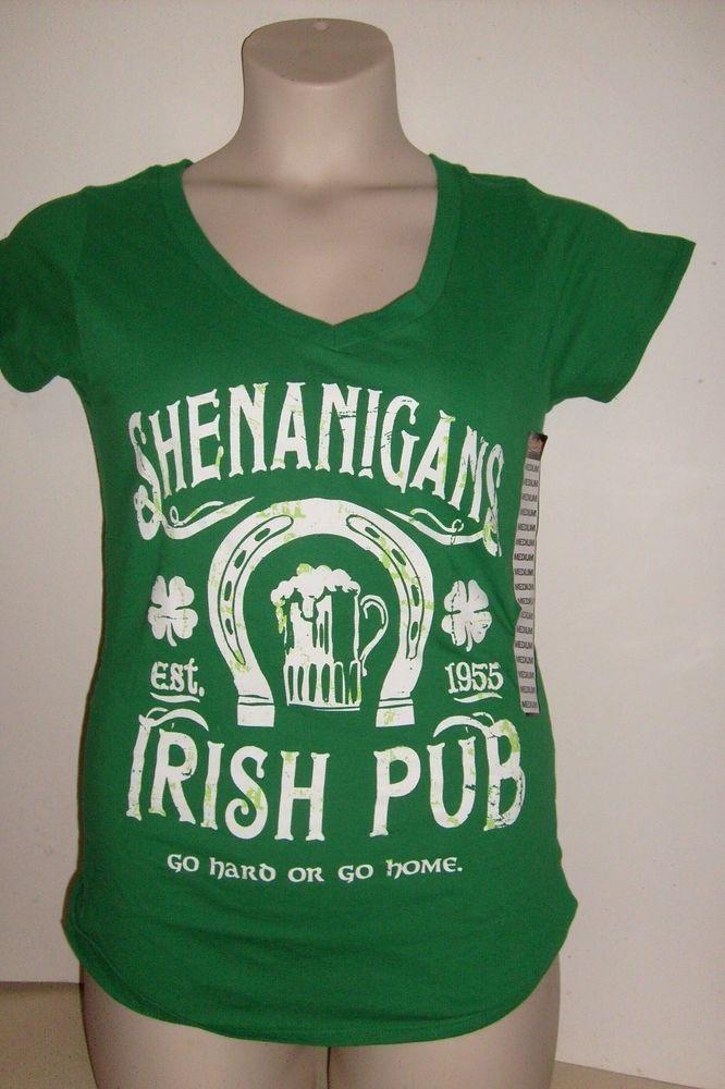 SAINT PATRICK'S SHENANIGANS IRISH PUB  WOMEN'S GREEN MEDIUM FITTEED T SHIRT NEW #SPENCERS #GraphicTee