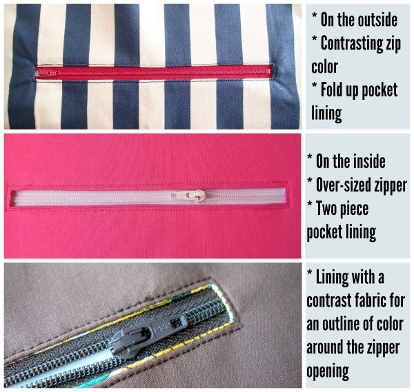 Step by step tutorial and video on how to add a zipper pocket to the lining or outside of any bag pattern. Shows several options and tips and tricks.