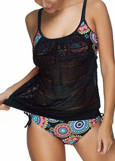 Mesh Panel Spaghetti Strap Top and Printed Panty on sale only US$27.23 now, buy cheap Mesh Panel Spaghetti Strap Top and Printed Panty at lulugal.com