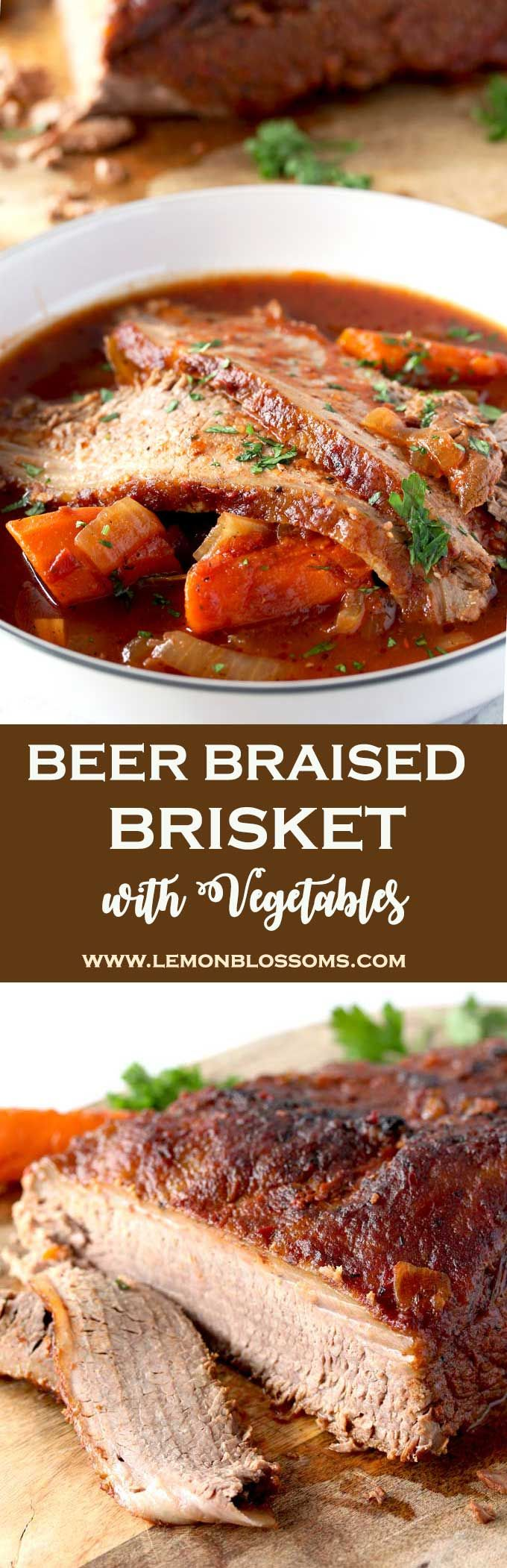 This incredibly tender Beer Braised Brisket with Vegetables is richly flavored, succulent and delicious. Cooked low and slow in beer and crushed tomatoes until mouthwatering perfection. With onions and carrots this is the perfect make ahead dinner party dish! #comfortfood #brisket #brisketrecipe via @lmnblossoms