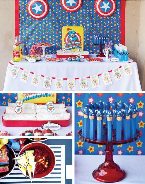 CUTE superhero party ideas, captain america, batman, supernam, flash. could work in