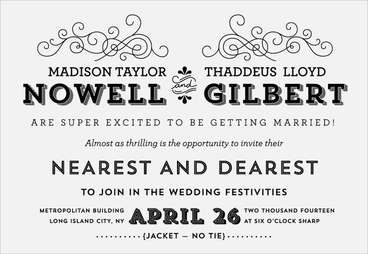 A round up of fun and sweet wedding invitation wording from Envelopments