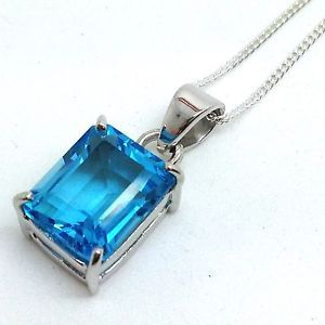 Swiss-Blue-Topaz-Faceted-Emerald-Cut-Pendant-Solid-Sterling-Silver-Chain