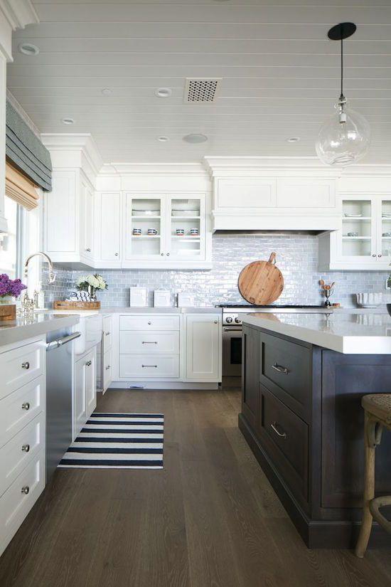 White Kitchen with Dark Brown Kitchen Island