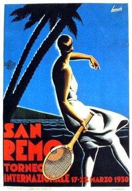 Sanremo, Riviera dei Fiori (Liguria) Torneo Internazionale di Tennis 1930  - Vintage Art Deco Posters #riviera #essenzadiriviera www.varaldocosmetica.it