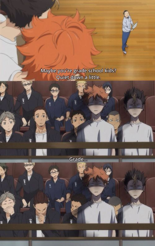 Haikyuu! Hahahaha XD Poor Nishinoya and Shoyo...:D<<<< The best part is the rest of the team in the background!