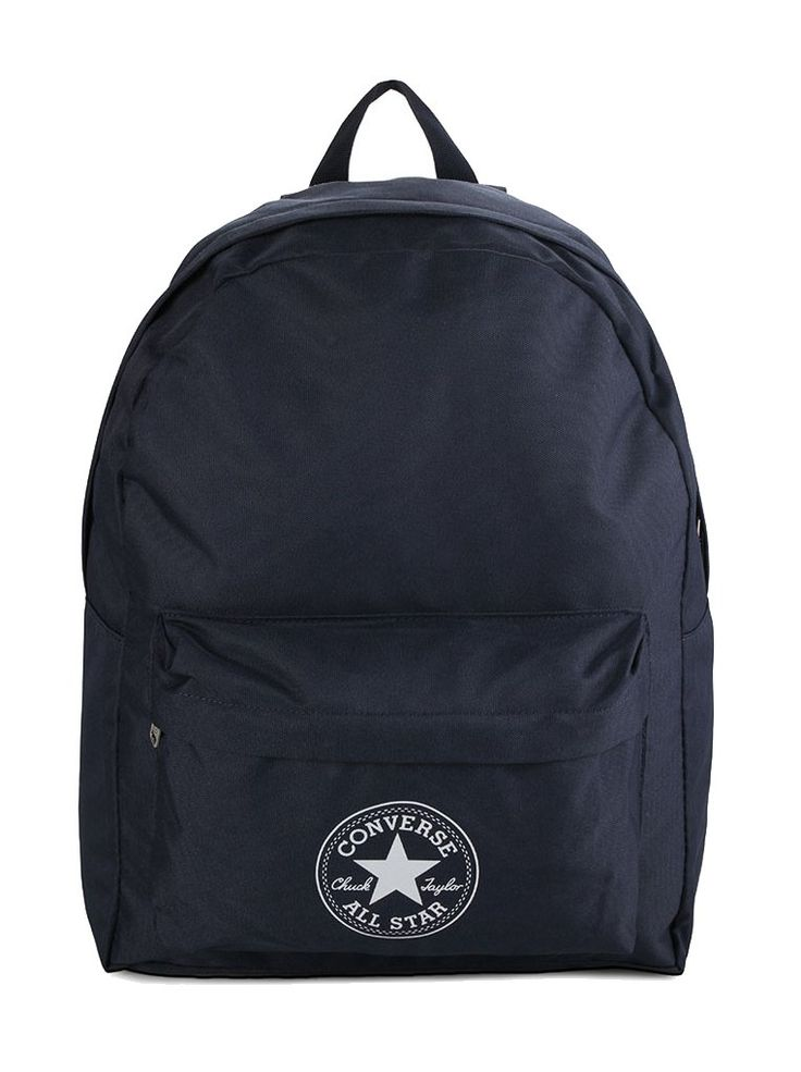 Regular Backpack by Converse. This backpack made from polyester bfabric with navy color, one main compartment, zipper closure, with converse logo,front pocket, inner pocket, top carry handle, adjustable padded strap. http://www.zocko.com/z/JIG11