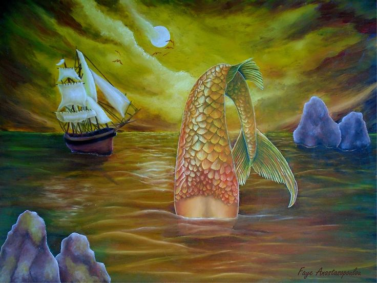 mermaid,painting,diving,ocean,scene,seascape,wild,aquatic,life,sailboat,marine,nautical,big,tail,mythical,mythological,fantasy,creature,fish,nightscape,moonligh,atmospheric,moody,vivid,colorful,golden,beautiful,awesome,cool,unique,contemporary,realistic,figurative,fine,oil,wall,art,images,home,office,decor,artwork,modern,items,ideas,for sale,redbubble