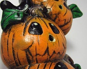 Ceramic Pumpkin Stack with Black Cat -11.75 inches - Hand made, Halloween