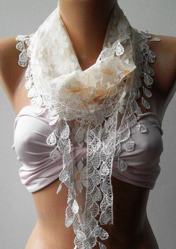 Elegance  Shawl / Scarf with Lacy Edge by womann on Etsy,