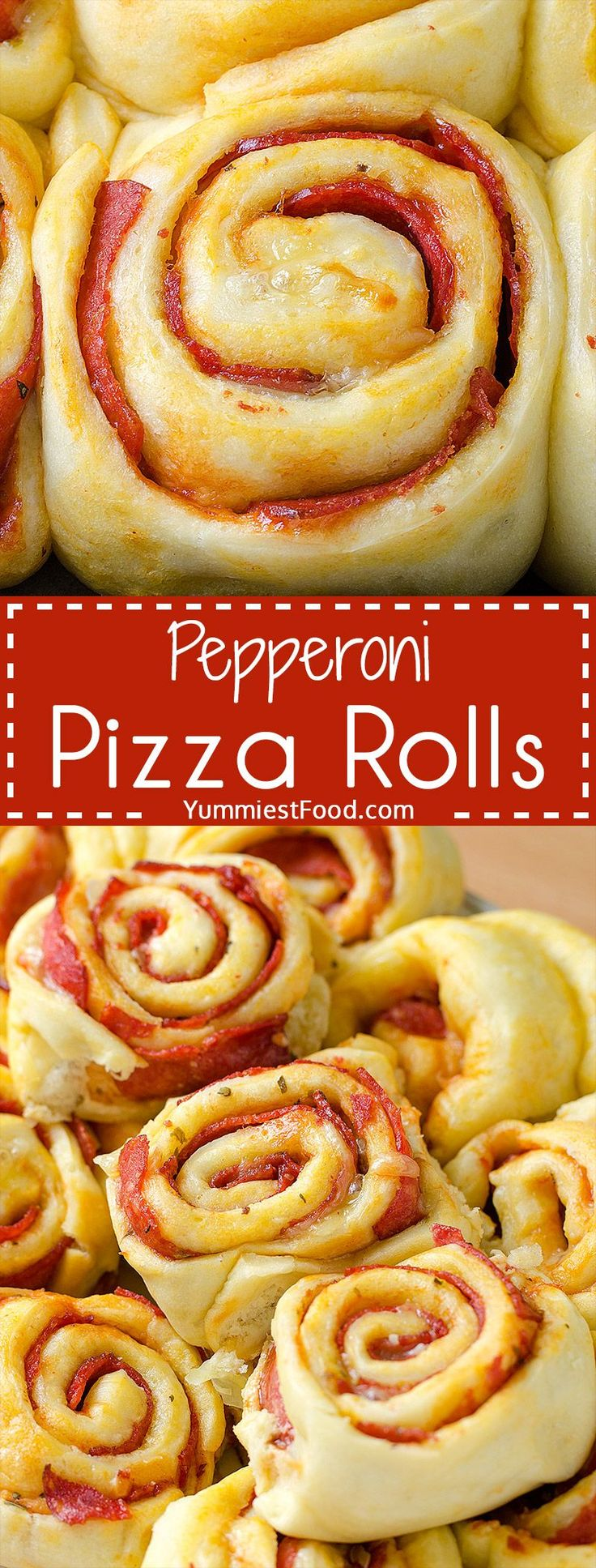 Pepperoni Pizza Rolls – so nice and easy way to enjoy pizza! These Pepperoni Pizza Rolls are perfect for every occasion! Real hit for party snack! (easy baking recipes snacks)
