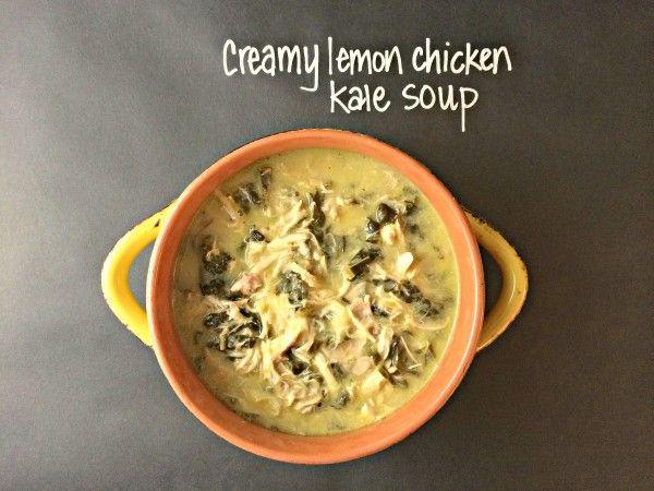 Creamy Crockpot Lemon Chicken Kale Soup.